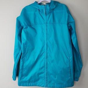 Lands End Kids Rain Jacket Size 10 - 12 Blue